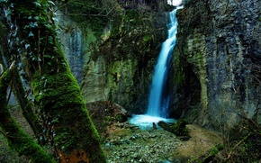 Picture forest, nature, rocks, waterfall