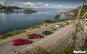 Picture road, the sky, water, coast, McLaren, Ford, 911, Porsche, BMW, Lotus, Top Gear, Toyota, Focus, …