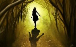 Picture art, road, trees, hair, leaves, back, girl, shadow, forest