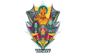 Picture art, emblem, marvel, Rocket, Star-Lord, Guardians of the Galaxy, Gamora, Groot, Drax the Destroyer