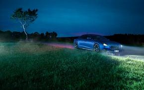 Picture grass, night, blue, lights, Maserati, Quattroporte, Novitec