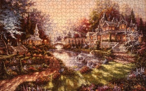 Picture grass, the sun, nature, comfort, house, river, figure, Puzzle, picture, texture, morning, Thomas Kinkade, Thomas …