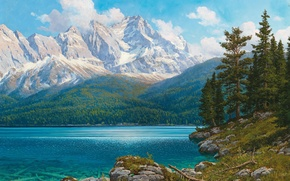 Picture forest, landscape, mountains, lake, shore, blue, Rudolf Resch REITHER