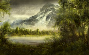 Wallpaper forest, trees, lake, pond, mountain, art, willow