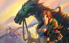 Picture fantasy, horse, Girl, warrior, art, flight