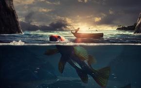 Picture sea, fishing, fish