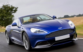 Picture Aston Martin, Blue, Machine, Speed, Car, 2012, Wallpapers, Aston Martin, Vanquish, The front, Vanquish