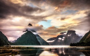 Picture clouds, mountains, lake, New Zealand, New Zealand, mountains, clouds, lake, Milford Sound, Milford Sound