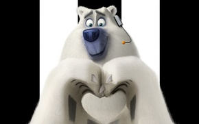 Picture white, soldier, bear, heart, cartoon, animal, polar bear, fur, Corporal, graphic animation, Penguins of Madagascar