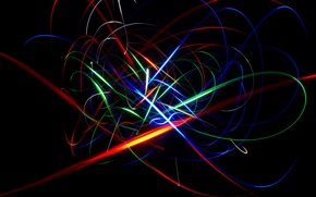 Picture blue, red, abstraction, yellow, background, green