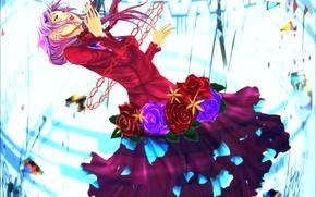 Picture girl, flowers, roses, anime, art, guilty crown, inori yuzuriha, crown of guilt
