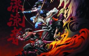 Picture fire, battlefield, flame, sword, gun, game, weapon, war, anime, katana, ken, blade, wave, samurai, hero, …