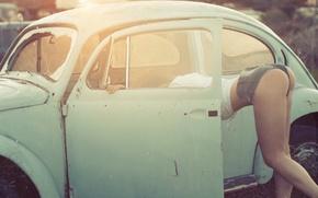 Picture auto, ass, girl, model, Volkswagen, legs, Beetle, Nastya, Panteleeva