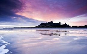Picture sea, the sky, clouds, castle, shore, England, the evening, UK, purple, lilac