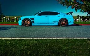 Picture Dodge, SRT8, Car, Blue, Charger, Side, Rides, Blooded
