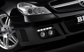 Wallpaper black, Mercedes-Benz, headlight, BRABUS
