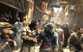 Wallpaper assassins creed, market, Revelations, Ezio