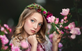 Wallpaper look, flowers, portrait, girl, wreath
