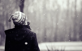 Picture snow, background, Wallpaper, mood, hat, hair, girl. winter