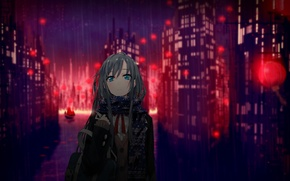 Picture girl, the city, lights, rain, home, anime, scarf, art, schoolgirl