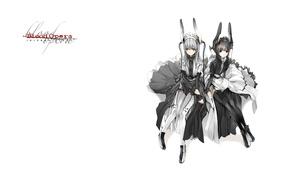 Picture girls, stockings, white background, two, ears, art, ruffles, Shungo Suvaki, Blood Opera