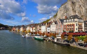 Picture the sky, the city, river, photo, home, pier, pierce, Belgium, Dinant