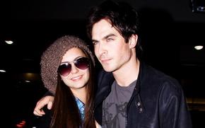 Picture girl, glasses, hugs, pair, male, lovers, The Vampire Diaries, Nina Dobrev, nina dobrev, ian somerhalder, …