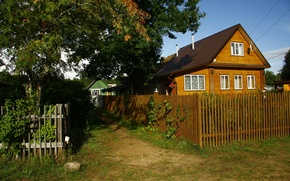 Picture village, the fence, house, background, nature, picture, Wallpaper