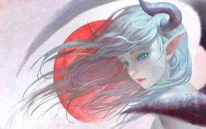 Picture girl, elf, wings, anime, art, horns, shuhai yimitong