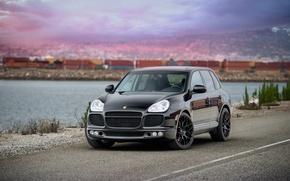 Picture sunset, black, port, cayenne, porsche, Porsche, black