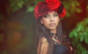 Picture portrait, wreath, Samantha, brown-eyed