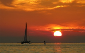 Picture sunset, Bui, catamaran