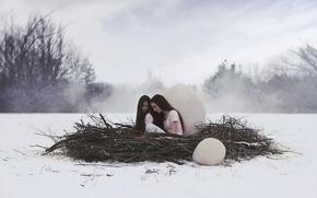 Picture winter, girls, socket