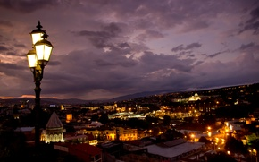 Picture night, the city, lights, building, backlight, lights, panorama, architecture, Georgia, capital, Tbilisi