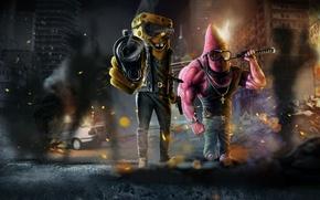 Picture night, the city, gun, skyscrapers, devastation, chaos, Spongebob, baseball bat, Patrick