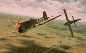 Picture war, art, painting, drawing, ww2, british aircraft, the hawker tempest, v1 bomb