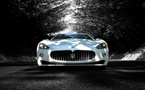 Picture road, trees, shadow, supercar, maserati