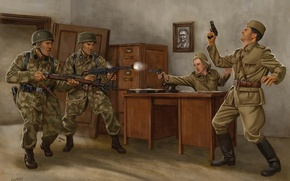 Picture weapons, figure, art, soldiers, shootout, invasion, The great Patriotic war