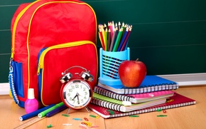 Picture Apple, pencils, alarm clock, bag, notebook, line, satchel, clip, markers, accessories, school