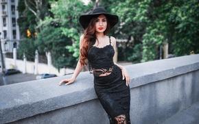 Picture look, girl, bridge, face, city, pose, mesh, model, portrait, hat, makeup, figure, dress, lipstick, red, …