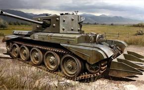 Picture figure, art, UK, Cromwell, British medium cruiser tanks, Mk.VIII, Cromwell, Tank Cruiser