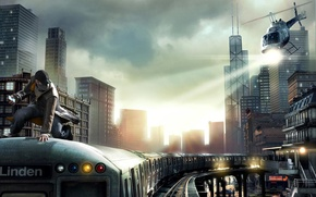 Picture weapons, Wallpaper, the game, train, police, chase, phone, helicopter, prosecution, watch dogs