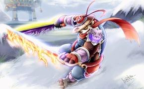 Picture Snow, Fire, Panda, Sword, Anime