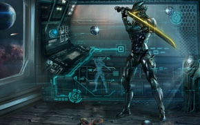 Picture space, metal, ship, ball, sword, art, armor, sphere, projection, training