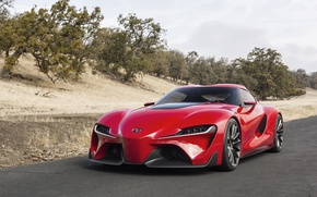Picture car, machine, Concept, red, Toyota, the front, FT-1