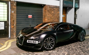 Picture Bugatti, Veyron, black, London, matte, Super Car