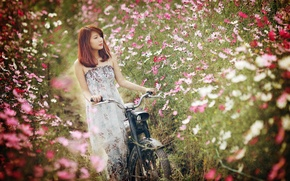 Picture girl, flowers, bike