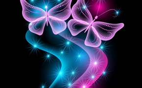 Picture butterfly, abstract, blue, pink, glow, neon, sparkle, butterflies, neon