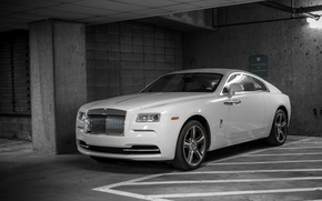 Picture Rolls Royce, White, Parking, Wraith