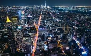 Picture night, the city, USA, New York, lights, New York, million